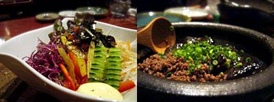 信 (のぶ):野菜サラダ、茄子のそぼろ煮