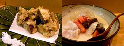 酒食家 博多ひさご:堀川ごぼう揚げ、京野菜と豚の白味噌仕立て