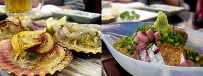 旬魚季菜 凪(なぎ):ひおうぎ貝バター焼、ゴマサバ