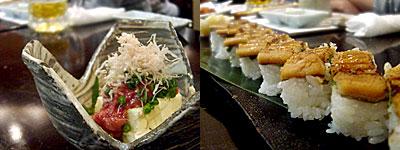 旬魚季菜 凪(なぎ):酒盗チーズ、あなごの押し寿司