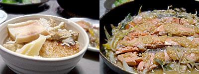 たけのこ炊き込みご飯、鮭のちゃんちゃん焼き