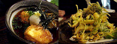 いごっそう:あげ豆腐と茄子の揚げだし、やりいかとみつばのかきあげ