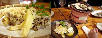 エリンギとしめじの天ぷら、焼きハマグリと竹の子