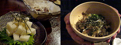 いごっそう:山芋の浅漬け、ゆでミノの柚子胡椒ポン酢