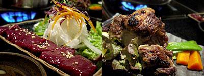 博多もつ鍋 八慶:レバ刺し、牛テールの塩焼き