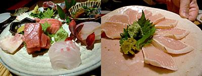 博多 Toc-Toc(トクトク) 焼鳥いっせい:刺身盛り合わせ、朝びき若鶏むね肉刺