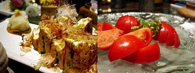 炉端焼・山海蒸し 國廣:厚揚げ葱焼き、冷やしトマトスライス