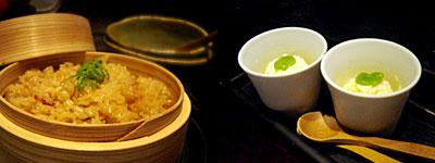 ひめ:鯛のダシで炊いたご飯、カボスのシャーベット
