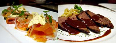 Dining TORIDE (砦):スモークサーモンとクリームチーズのレモンバジルジュレ添え、牛タンの赤ワイン煮
