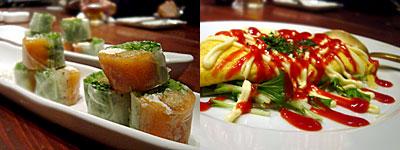 亜 dinning KIMAMA:スモークサーモンとクリームチーズの生春巻き、明太チーズオムレツ