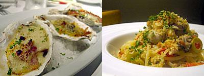 フィッシュ&オイスターバー:牡蠣のオーブン焼き、3種のソース