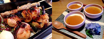 焼とりの八兵衛 ソラリアプラザ店:豚バラ串、とり串×2、うずら、椎茸