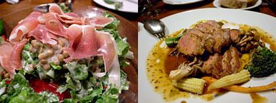 博仏ダイニング KINOSHITA(キノシタ):レンズ豆と生ハムのサラダ、フランス産豚肩ロース