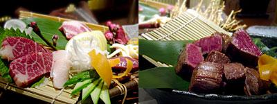 とめ手羽 西中洲店:馬刺し盛り合わせ、桜肉カクマクのサイコロステーキ