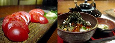 とめ手羽 西中洲店:トマトスライス、お茶漬け(鯛わた)