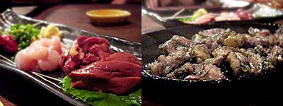 桜坂 しんすけ:地頭鶏の刺身盛り、地鶏の炭火焼