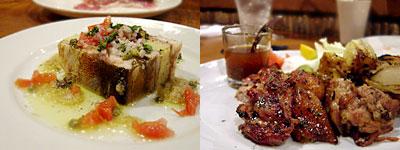 食堂クーネル:サバのスモークと新じゃがのテリーヌ、若鶏のタイ風バーベQ