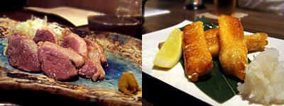 振る舞い処 水魚:鴨ロースと葱の塩焼き、鮭のハラス