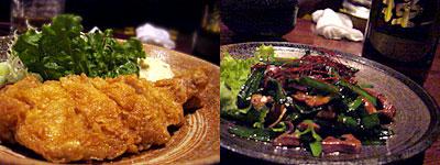 居心地屋 やまぢ 天神西中洲店:みやざき地頭鶏のチキン南蛮、レバニラ炒め
