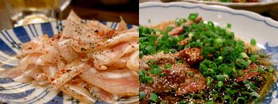 もつ焼 塩田屋:ミミガー、生チレ刺&生ハツ刺