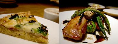 ワイン食堂 倉庫:キャシュ ロレーヌ、生ベーコンと野菜のグリル