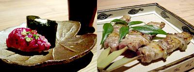 付け出しのお寿司と炙り串