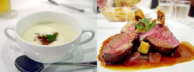 さつま芋の冷たいスープ、子羊のロースト マデラソース