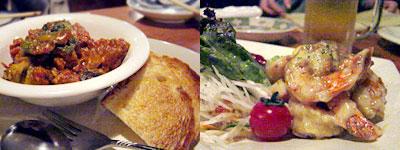 夏野菜のトマト煮(バケット付)、海老のマヨマヨ和え