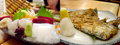海鮮居酒屋 一本木商店:お刺身五点盛、特大太刀魚の塩焼き
