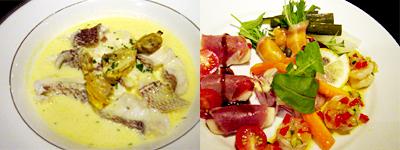 魚料理とオードブル