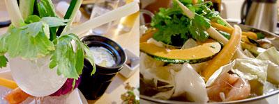 1羽のトリと10コのやさい きあん:農園のバーニャカウダ、地鶏と野菜のとろろ鍋