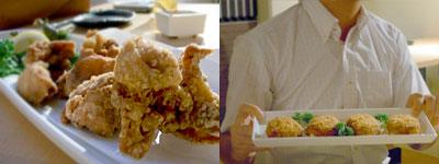 1羽のトリと10コのやさい きあん:若鶏もも肉の唐揚げ、地鶏とじゃがいものクリームコロッケ