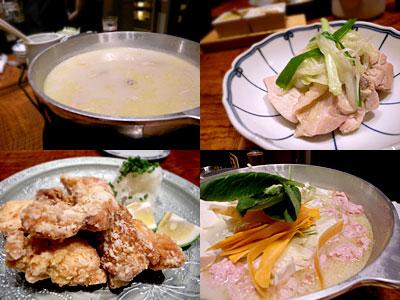 博多水炊き とり田 博多本店:水炊きコース、唐揚げ