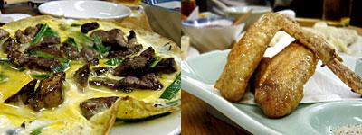 餃子専門店 宝雲亭(ほううんてい):肝ニラ卵とじ、大手羽唐揚げ