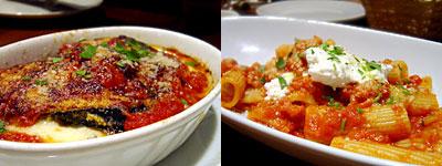 ピッツェリア ファリーナ:茄子の重ねオーブン焼き、リガトーニパスタのボロニエーゼソース合え