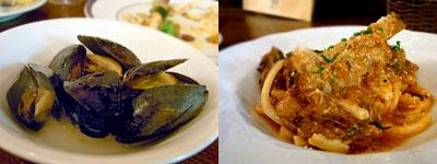 Ringrazie (リングラッツェ):ムール貝の黒胡椒蒸し、子羊のトマトパスタ