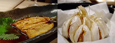 元気満天食堂 しげまつ:いわしの蒲焼、にんにくの丸揚げ