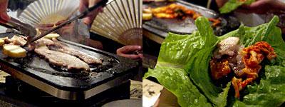 韓の豚家 芭李呑(ばりとん):こだわり豚三枚バラ肉の石焼き(サムギョプサル)