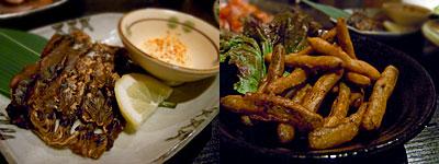 焼き鳥処 とり○ (とりまる):ホタルイカ畳干し炙り、ごぼうの唐揚げ