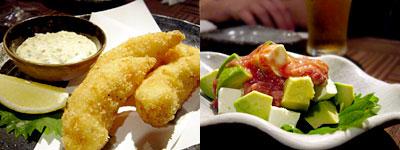 BAR&DINING 夢幻 雪月花:雪月花風エビフライ、アボカドとクリームチーズの酒盗あえ
