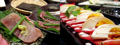 炭火焼創作料理 暖炭:スモークマグロの刺身、スモークたまご&トマトスライス