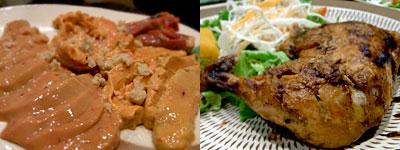 UCCELLINO (ウッチェリーノ):地鶏キモ刺し、鶏もも肉のオーブン焼き