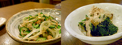 旬彩ダイニング あじと:ゴーヤのサラダ、ほうれん草のおひたし