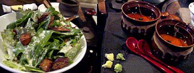 博多水炊き・唐揚げ かし和:ほうれん草サラダ、手作りどうふ