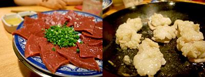煮こみ 大名店:ハツ刺、特上ホルモン焼き