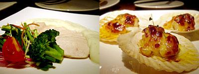 Arbby Kitchen(アービーキッチン):茹鶏の柚子胡椒ソース、ホタテの明太子ソース焼き
