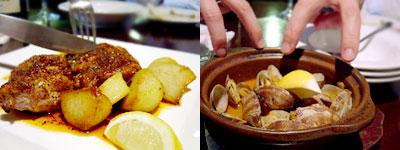 バル難破船:若鶏のガーリックソース焼きと、アサリの漁師風