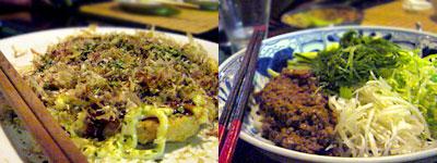 きまま料理 Kookaburra (クッカバラ):とりミンチのお好み焼きとジャージャー麺