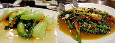 金絲猴(きんしこう):チンゲン菜とニンニク炒め、ヤリイカと空心菜のXO醤炒め