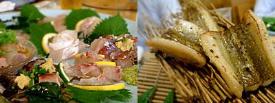 郷土料理 つしま亭:刺盛り、対馬穴子の味噌漬け焼